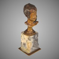 Antique French Paperweight Presse Papier Girl Bust with French Cap