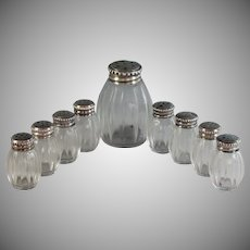 Set of 9 Christofle Sterling Salts, Boxed One large