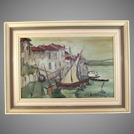 Painting of a Seaside Village in Southern France