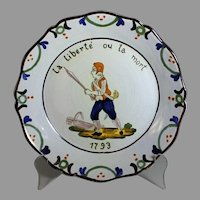 Antique French Faience Plate Malicorne La Liberte ou La Mort