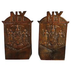 Pair of Bronze NY Bookends with Coat of Arms of New York Exelsior