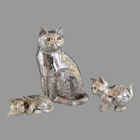 Christofle France Silverplate Cat Family, Cat with 2 Kittens Lumiere collection