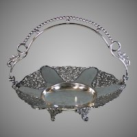 Aesthetic Movement Silverplate Brides Basket with Handle Silver Plate