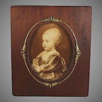 Antique Wood Picture Photo Frame with Gilt Metal Accents