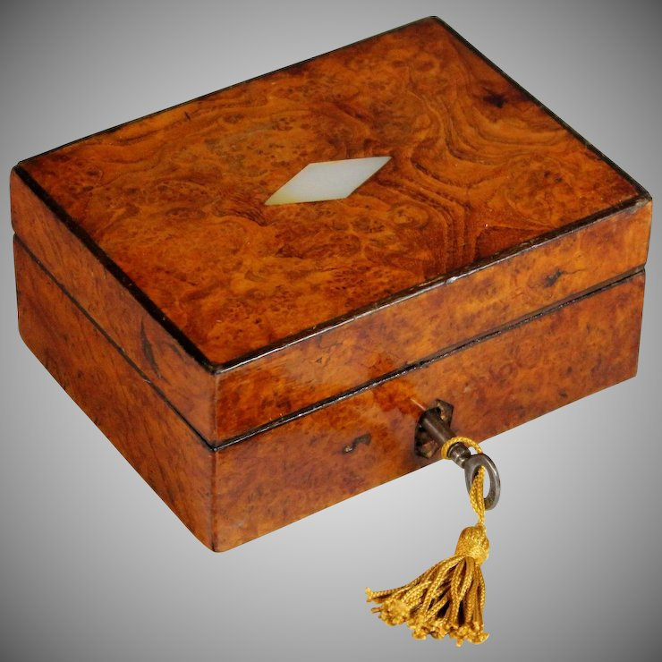 Antique Burl Wood Jewelry Box with Inlaid Mother of Pearl and Key