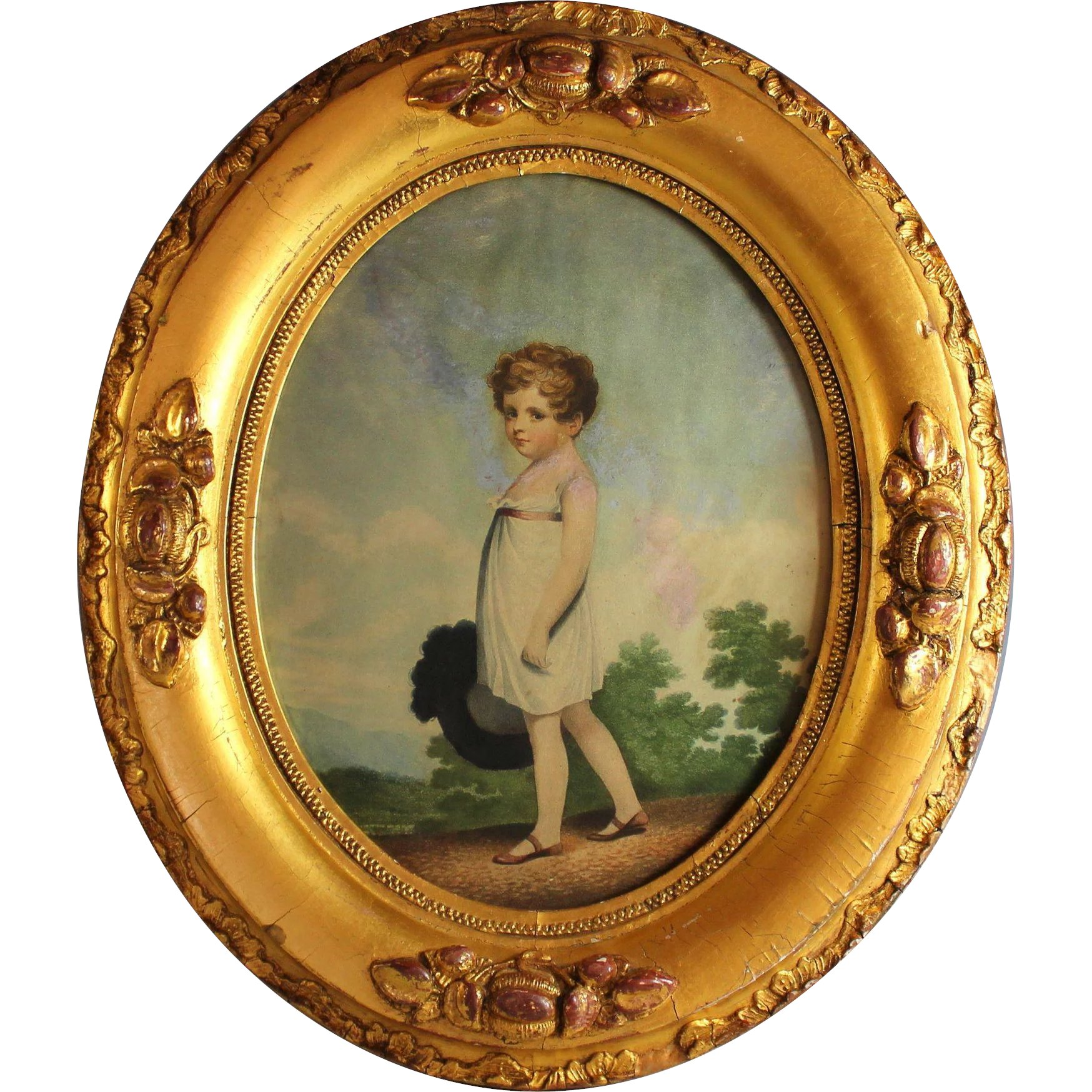Antique Oval Gilded Frame with Antique Print of a Young ...