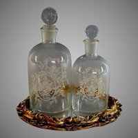 Pair of Antique French Etched Glass Scent Bottles with Tray
