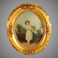 Antique Gilt Oval Frame with Print of a Young Girl with Basket