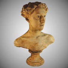 Antique French Patinated Plaster Bust of a Young Woman