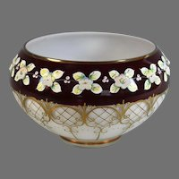 Hand Painted Signed Bohemian Czech Glass Bowl