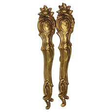 Antique French Gilt Bronze Drapery Curtain Rod Holders, Large
