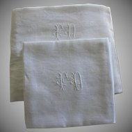 """Antique French White Monogrammed Napkins F D Set of 12 with Tablecloth 84"""" x 61"""""""