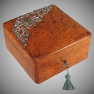 Antique French Burl Wood Veneer Box with Bird Decoration