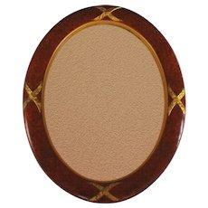 Vintage French Mirror with Burl Wood Veneer Frame