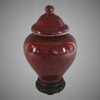 Chinese Pottery Oxblood Covered Urn Sang de Boeuf