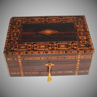 Antique Marquetry Tunbridge Ware Writing Slope with Working Key