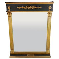 Antique Empire Tabernacle Mirror with Gilt and Black Accents