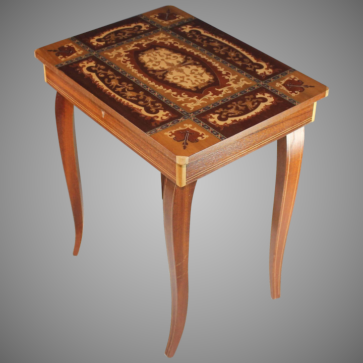 0f2239206 Vintage Sorrento Ware Inlaid Marquetry Music Box Side Table : Juliet Jones  Vintage | Ruby Lane