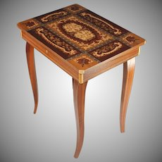 Vintage Sorrento Ware Inlaid Marquetry Music Box Side Table