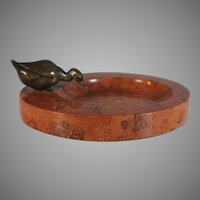 Antique French Vide Poche Card Tray with Duck and Antico Rosso Marble