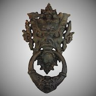 Antique Large Cast Iron Door Knocker Grotesque