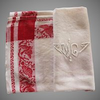 Antique French Monogrammed Napkins M G White Red Set of 9  with Tablecloth