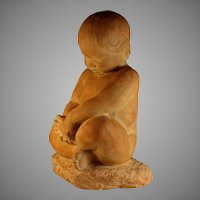 Vintage Chalkware Sculpture of a Young Child Signed