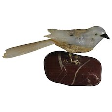 Hand Carved Agate Bird Sculpture on Natural Stone Stand