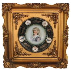 Antique French Frame with Bavaria Plate of Hortense and Napoleon Josephine