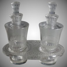 Vintage Lalique Cruet Set, Oil Vinegar Stand, Bourgueil