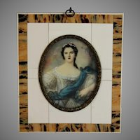 19th Century Miniature Portrait of Madame Victoire in Beautiful frame