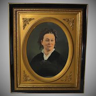 Large 19th Century Colored Photograph of a Lady in Ebonized Greek Revival Frame