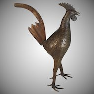 Vintage Chinese Solid Bronze Rooster