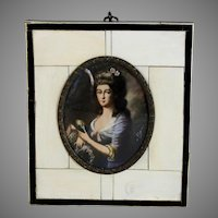 19th C Miniature Portrait of  German Lady Signed