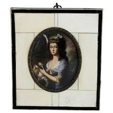 19th C Miniature Portrait of  German Lady Signed