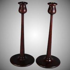 Pair of Mid Century Modern Mahogany Candle Sticks