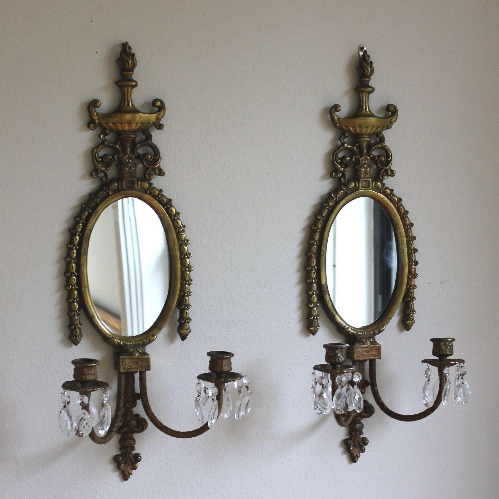 Two Antique Bronze Candle Sconces with Crystals : Juliet ...
