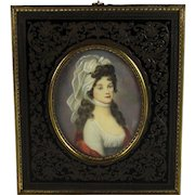 19th C Miniature Portrait of Queen Louise of Mecklenburg signed