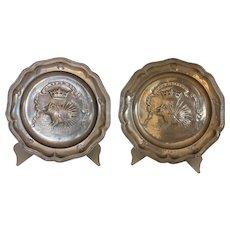 Pair Antique Pewter French Plates Ordre du Porc-Epic, Louis XII