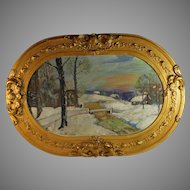 Oil on Board Painting of a Winter Landscape