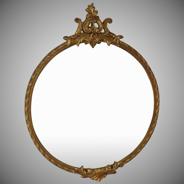 "Top Large Antique Gilded Round Mirror with Ornate Top 38"" Louis XV  GP87"