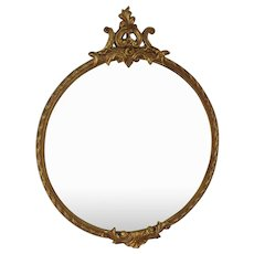 "Large Antique Gilded Round Mirror with Ornate Top 38"" Louis XV Style"