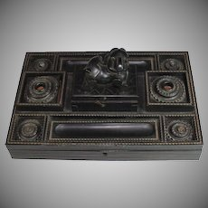 Antique Chinese Hand Carved Wood Writing Desk Set