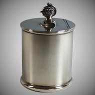 Vintage Sheffield England Silverplate Tea Caddy with Knight's Helmet, Silver Plate