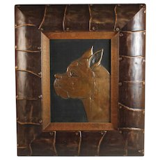 Vintage Patinated Copper Repousse Relief of a Boxer in Great Frame