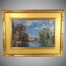 Oil Painting by listed artist Albert Pinot (1875-1962) titled Paysage de Printemps (Spring Landscape)