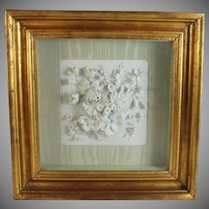Early 20th C Porcelain Sculpted Plaque Parian Ware in Shadow Box B