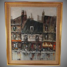 Interesting Oil on Canvas Painting of a Paris City Street