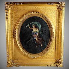 Antique Watercolor and Gouache painting of Venus in Elaborate Gold Frame