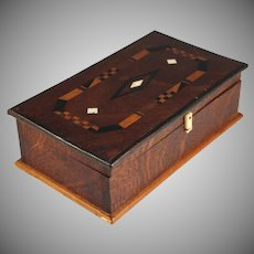 Arts & Crafts Style Inlaid Wood Desk Box